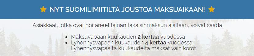 Suomilimiitti lainalle saat joustavaa maksuaikaa!
