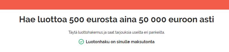 Luottovertaaja.fi lainaa 500- 50.000 euroa ilman takaajia.