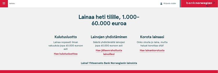 Hae lainaa Bank Norwegian pankista