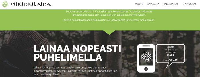 Viikinkilaina.fi lainaa tekstiviestillä.