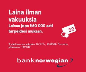 Bank Norwegian – Pankkilainaa 1000 – 60.000 euroa!